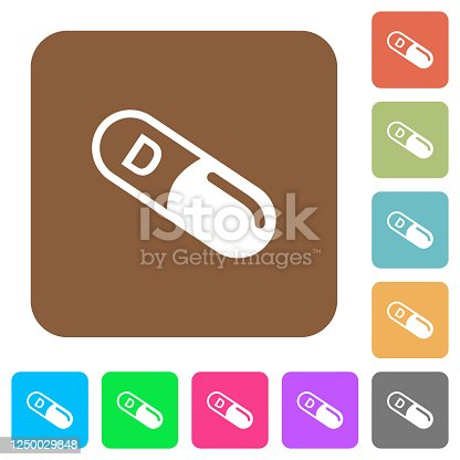 istock Vitamin D rounded square flat icons 1250029848