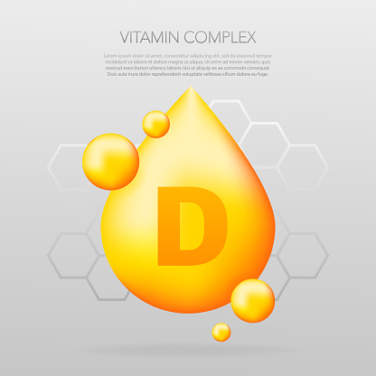 Vitamin D shining pill capcule icon. Shining golden substance drop. Meds ads. Beauty treatment nutrition skin care design. Vector illustration