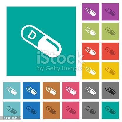 istock Vitamin D square flat multi colored icons 1220110242
