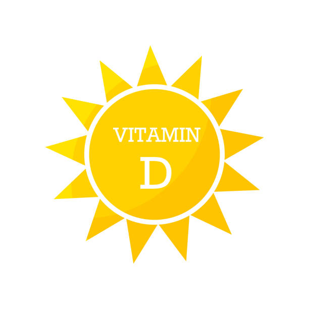 비타민 d 태양 디자인 - vitamin d stock illustrations