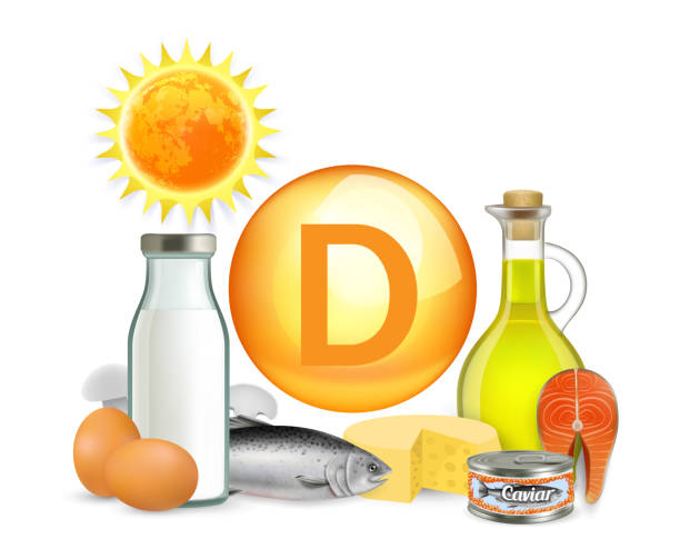vitamin d sunlight and food sources, vector illustration - vitamin d stock illustrations