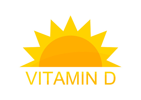 Vitamin D symbol sun icon design. Vector illustration.