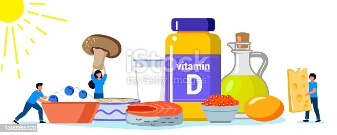 istock Vitamin D vector illustration Healthy eating and diet Different food rich of vitamin d Organic liver oil supplement and skin synthesis Dietetic organic nutrition Food supplement and health care concept 1309985320