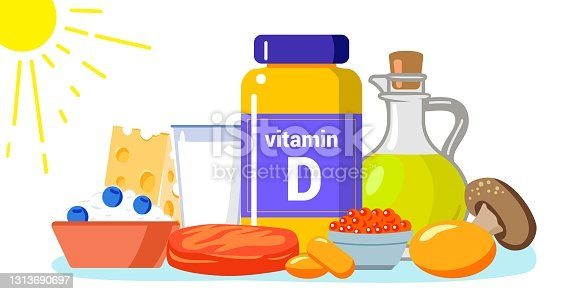 istock Vitamin D vector illustration Healthy eating and diet Different food rich of vitamin d Organic liver oil supplement and skin synthesis Dietetic organic nutrition Food supplement and health care concept 1313690697