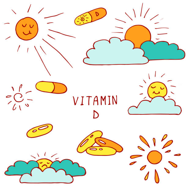 vitamin d vector illustration set - vitamin d stock illustrations