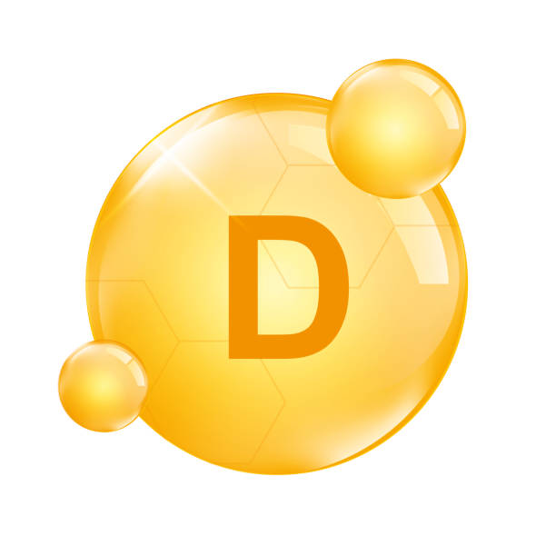 d vitamini, sarı kapsül, gerçekçi vektör çizim - vitamin d stock illustrations