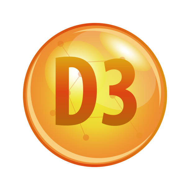 vitamin d3 capsule. vector icon for health. - vitamin d stock illustrations