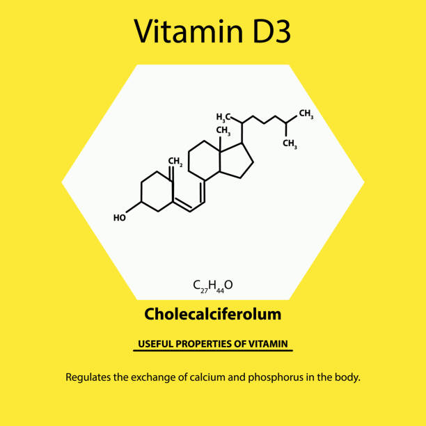 vitamin d3. cholecalciferolum molecular chemical formula. useful properties of vitamin. infographics. vector illustration on isolated background. - vitamin d stock illustrations