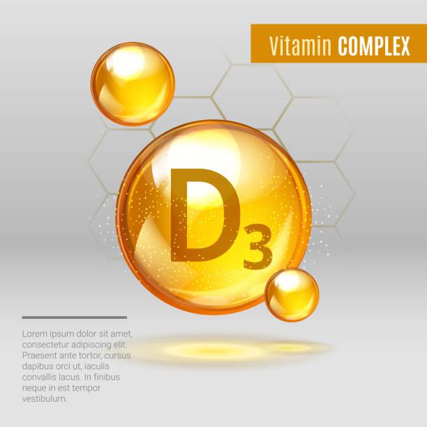 비타민 d3 빛나는 알 약 캡슐 아이콘. 화학 식 을 함유 한 크립토 홀 칼시 페롤 비타민. 빛나는 황금 물질 드롭. 약 광고. 뷰티 트리트먼트 영양 스킨 케어 디자인. 벡터 일러스트레이션 - vitamin d stock illustrations