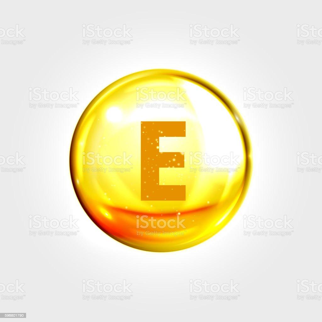 Vitamin E gold icon. Tocopherol pill capsule vector art illustration