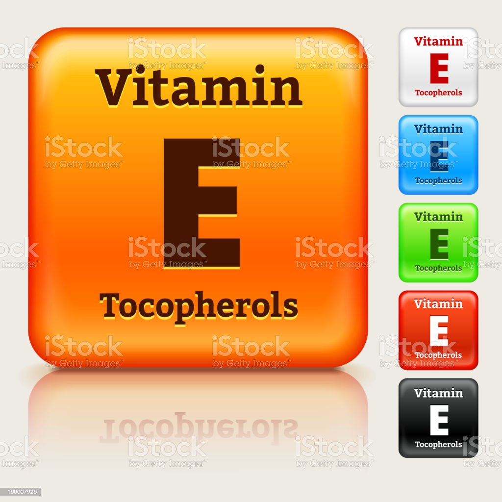 Vitamin E Multi Colored Button Set royalty-free vitamin e multi colored button set stock vector art & more images of black color