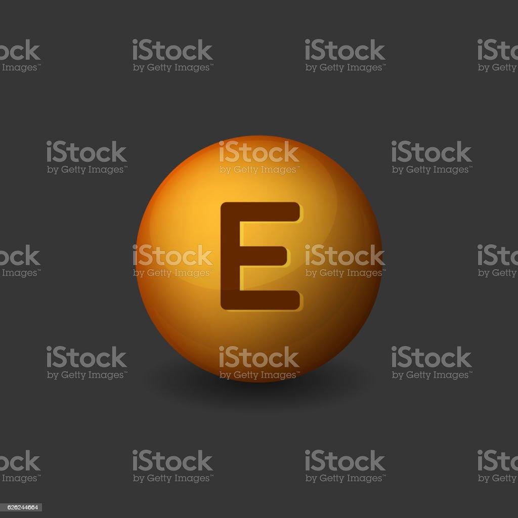 Vitamin E Orange Glossy Sphere Icon on Dark Background. Vector vector art illustration