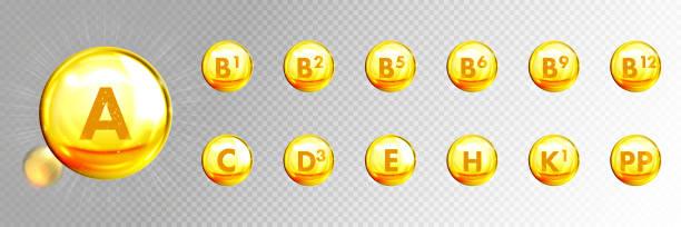 vitamin altın kapsüller, vektör 3d altın damlaları. cilt bakımı anti-yaş ve beslenme takviyesi multivitamin kompleksi, altın yağ kapsülleri şeffaf arka plan üzerinde izole - vitamin d stock illustrations