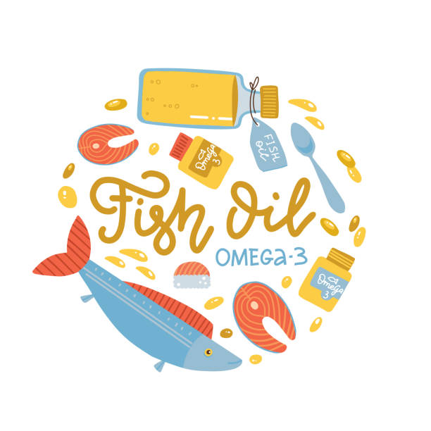 vitamin intake color circle concept. fish oil supply. omega-3 supplement. medication and pills, live fish and fish oil in bottle.diet supply. healthcare and nutrition. isolatedflat vector illustration - vitamin d stock illustrations