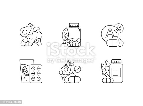 Vitamin intake linear icons set. Vegetables and fruits for healthcare. Pharmaceutical aid. Thin line contour symbols. Isolated vector outline illustrations. Editable stroke. Perfect pixel