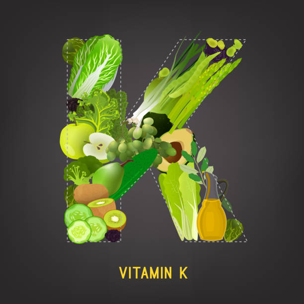 Vitamin K in Food Fresh greens, vegeetables and fruits highest in vitamin K composing K letter shape. Nutrition and healthy eating concept. Beautiful vector illustration isolated on a dark grey background. scallion stock illustrations