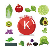 Vitamin K (menaquinone). Natural organic vegetables and fruits, with the highest content of vitamin K.