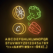 Vitamin ? neon light icon. Lemon, broccoli and bell pepper. Healthy eating. Ascorbic acid natural food source. Vegetables. Glowing sign with alphabet, numbers and symbols. Vector isolated illustration