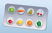 Vitamin Pills Blister Fruits Vegetables