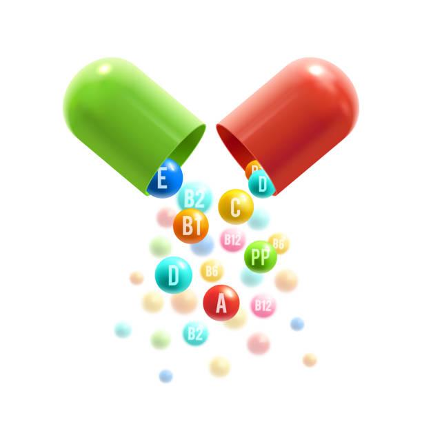 비타민 알 약 벡터 3d 캡슐 포스터 - vitamin d stock illustrations