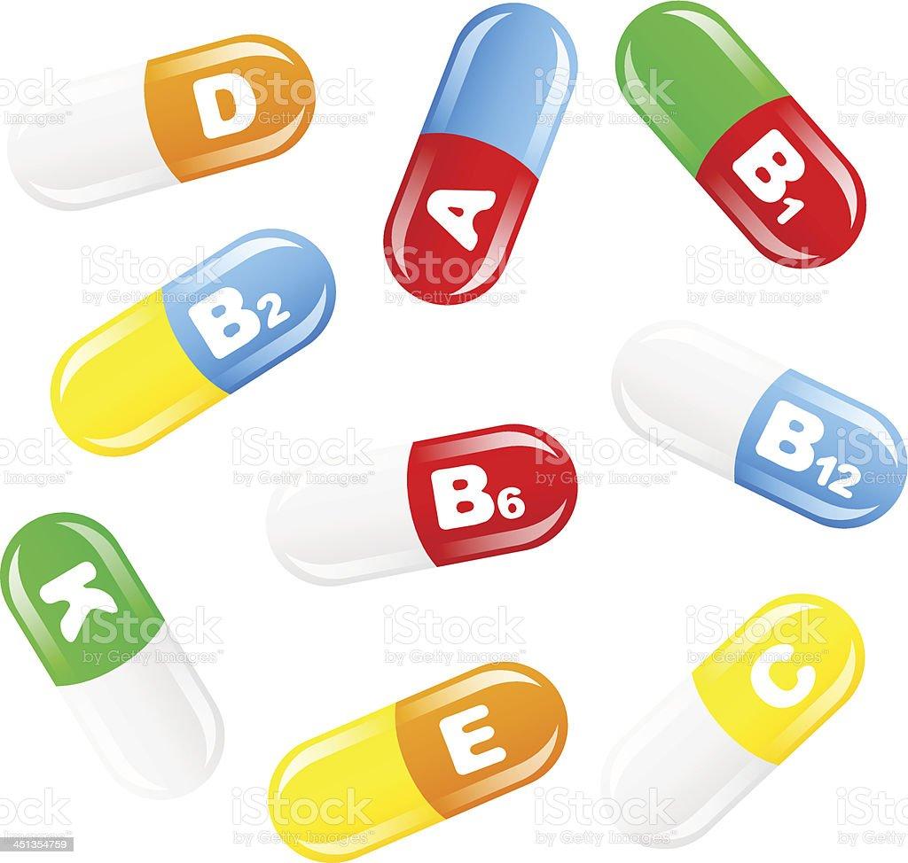 vitamin pills vector art illustration