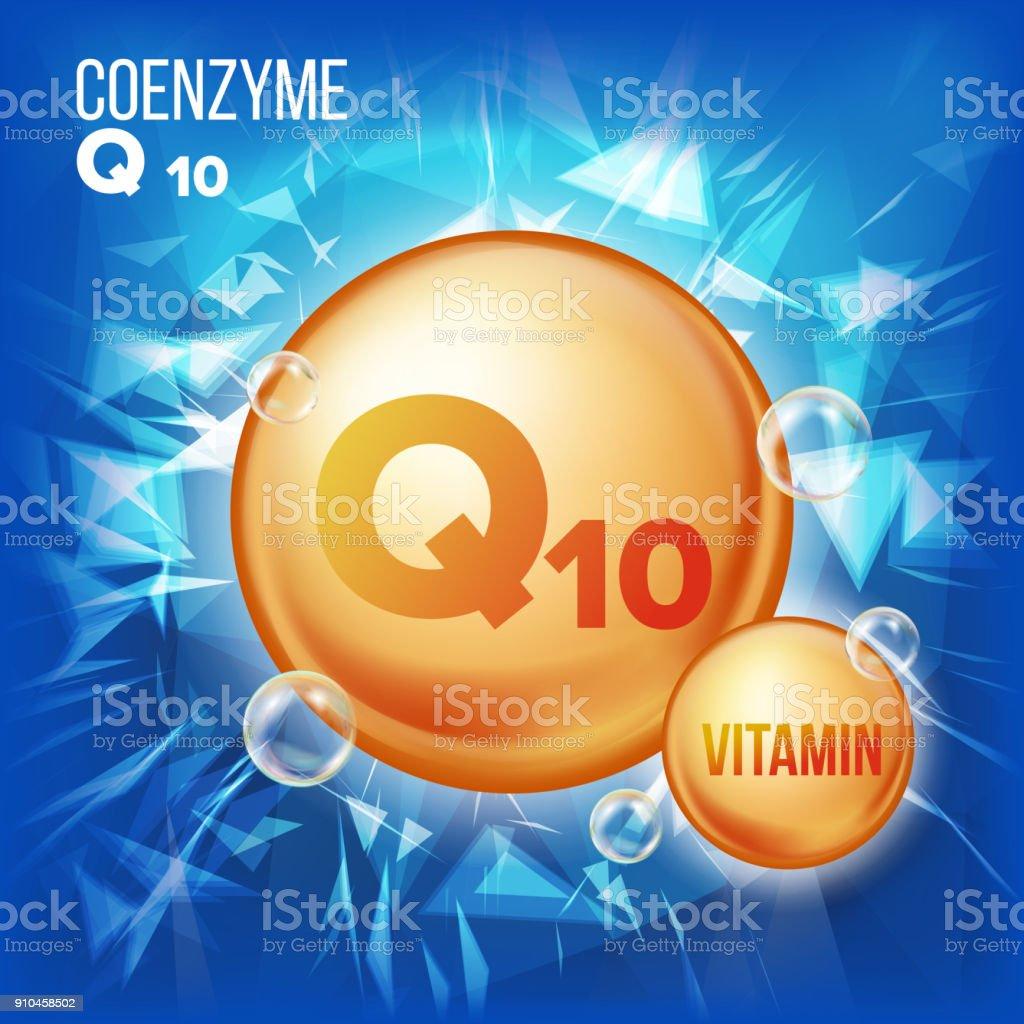 Vitamin Q10 Coenzyme Vector. Organic Vitamin Gold Pill Icon. Medicine Capsule, Golden Substance. For Beauty, Cosmetic, Heath Promo Ads Design. 3D Vitamin Complex With Chemical Formula. Illustration vector art illustration