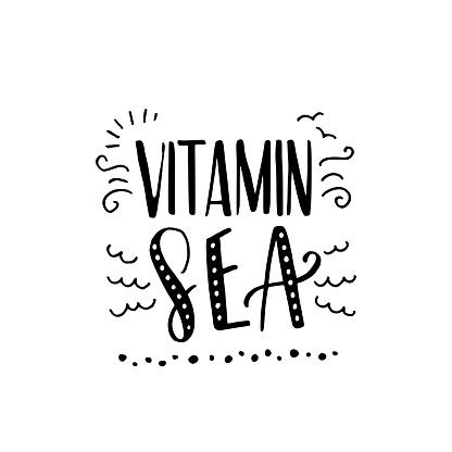 Vitamin Sea hand lettering inscription