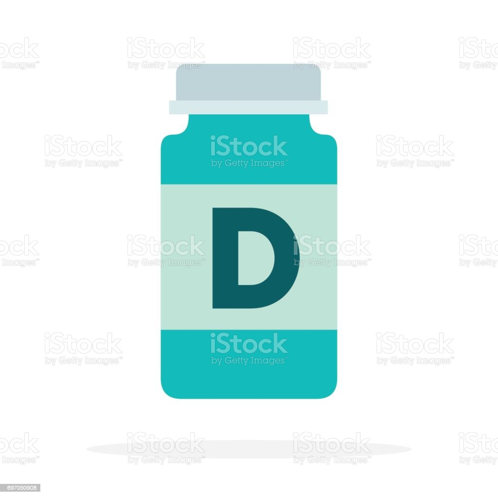 Vitamins D in a plastic bottle flat isolated vector art illustration
