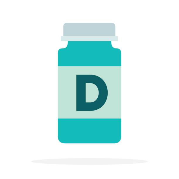 vitamins d in a plastic bottle flat isolated - vitamin d stock illustrations