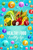 Vitamins in natural fruits, vegetables and nuts food. Vector poster for healthy nutrition of multivitamin complex pill and capsules in tropical pineapple, coconut or papaya, broccoli and salads