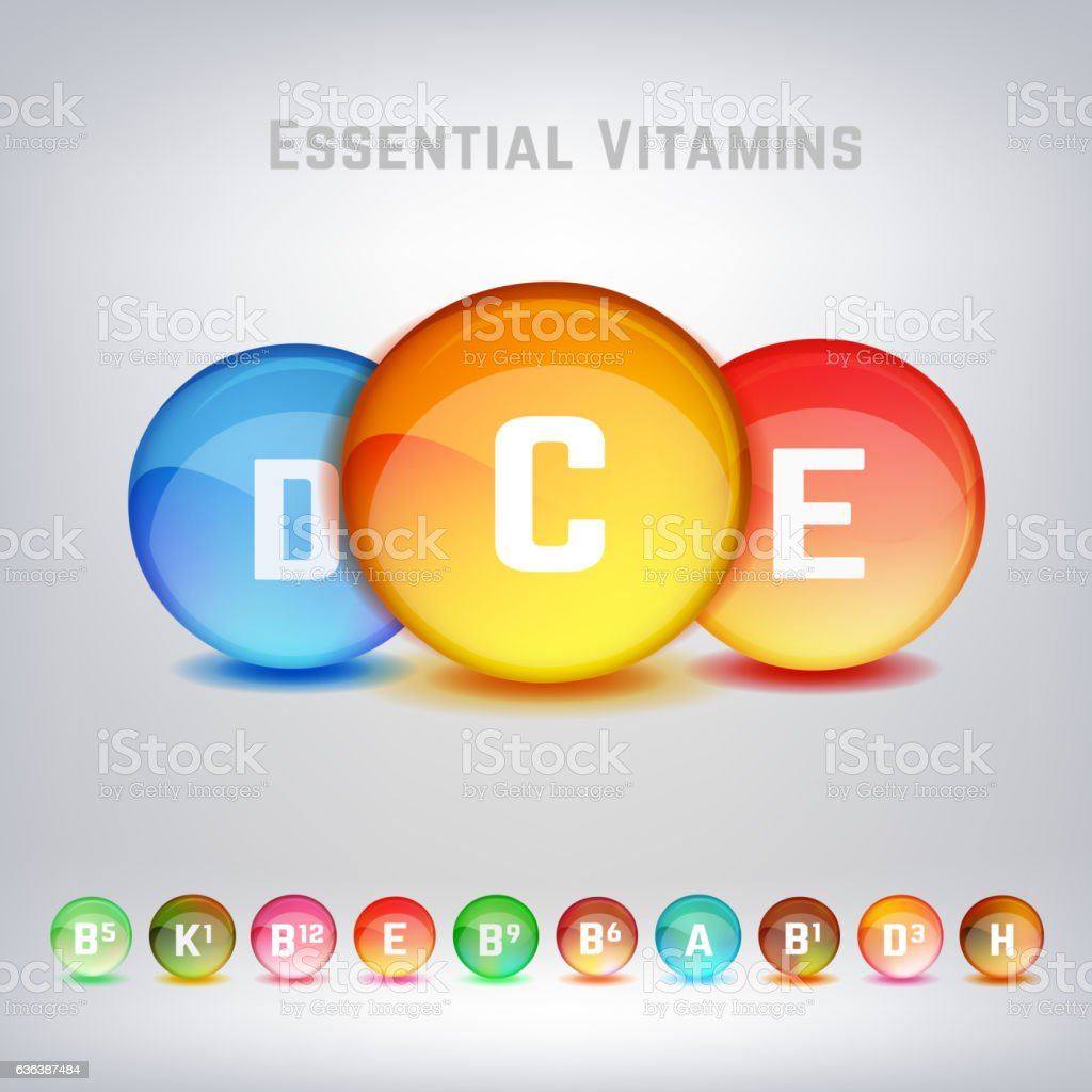 Vitamins Set Image vector art illustration