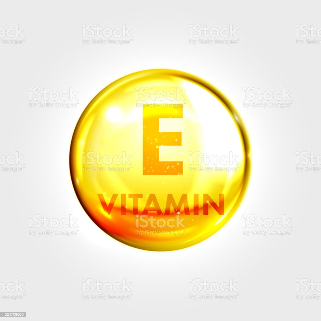 Vitamn E icon drop gold pill capsule vector art illustration