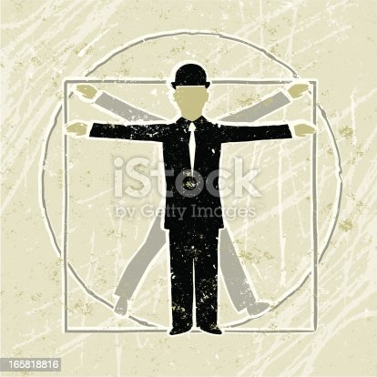 Renaissance Man! A stylized vector cartoon of a businessman in the shape of the Vitruvian  Man diagram, reminiscent of an old screen print poster and suggesting perfection, proportion, balance, the ideal, ideals,  renaissance, correlation or ratio. Men, grid, paper texture, and background are on different layers for easy editing. Please note: clipping paths have been used, an eps version is included without the path.