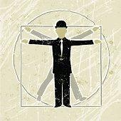 Vitruvian Business Man Diagram showing Proportion