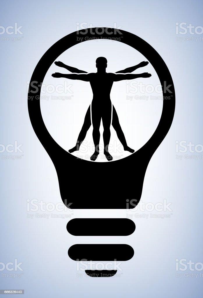 Vitruvio Hombre Humano Anatomía Bombilla Ilustración Vectorial ...