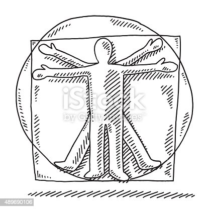 Hand-drawn vector drawing of a Vitruvian Man showing the Human Proportions in a Square and a Circle. Black-and-White sketch on a transparent background (.eps-file). Included files are EPS (v10) and Hi-Res JPG.