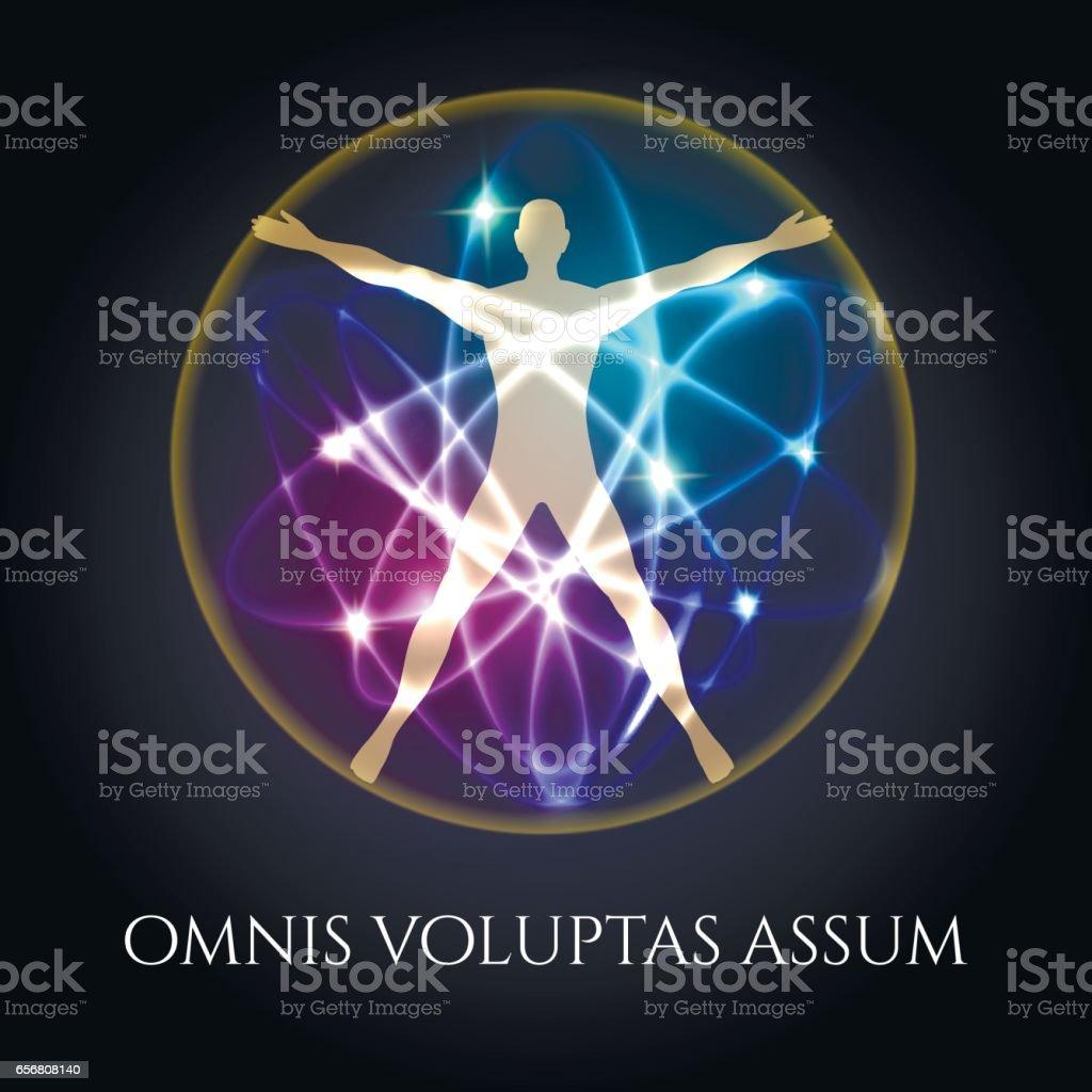 Vitruvian man in glowing spheres emblem vector art illustration