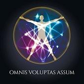 Vitruvian man in glowing spheres emblem