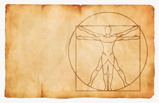 Vitruvian Man Ink on Paper Vintage Background