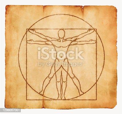 istock Vitruvian Man Ink on Paper Vintage Background 1299057001