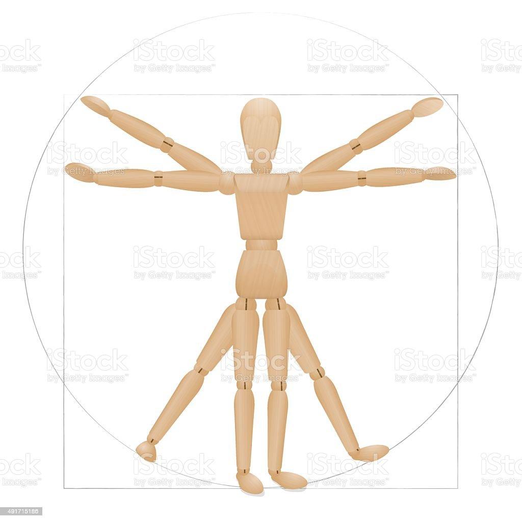 Manequim vitruviano figura de madeira - ilustração de arte em vetor