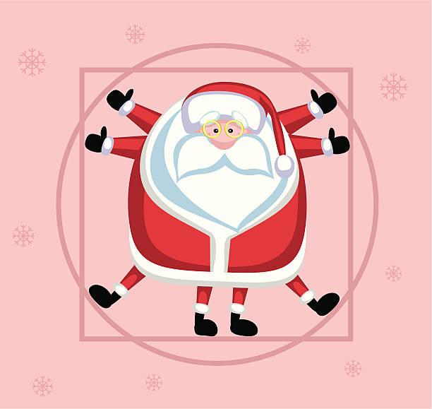 vitruvian santa - old man funny pictures stock illustrations