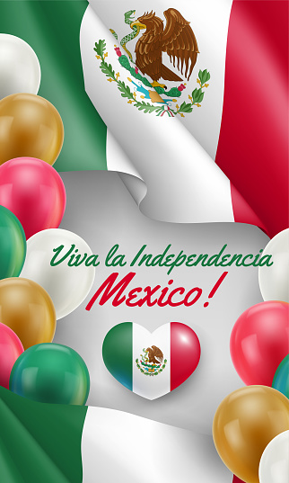 Viva La Independencia Mexico card in national colors
