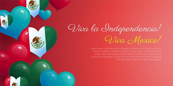 Viva La Independencia Mexico greeting card realistic design.