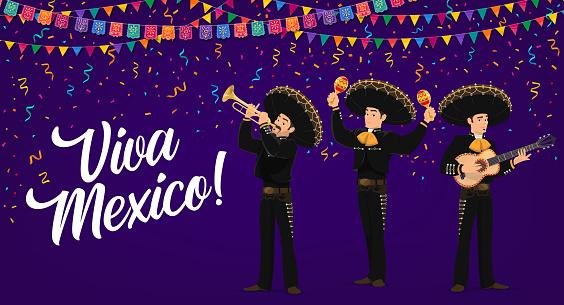 Viva Mexico banner with mexican Mariachi musicians