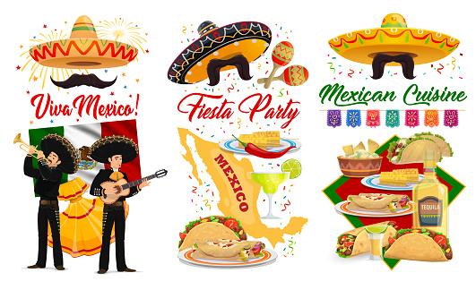 Viva Mexico, Cinco de Mayo banner, Mexican holiday