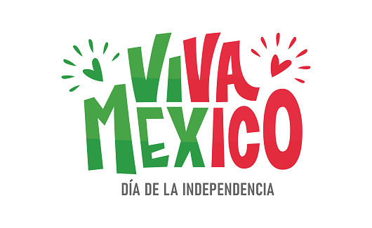 Viva Mexico, colorful lettering with flag colors.