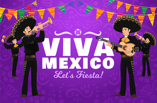 Viva Mexico fiesta mariachi musician characters