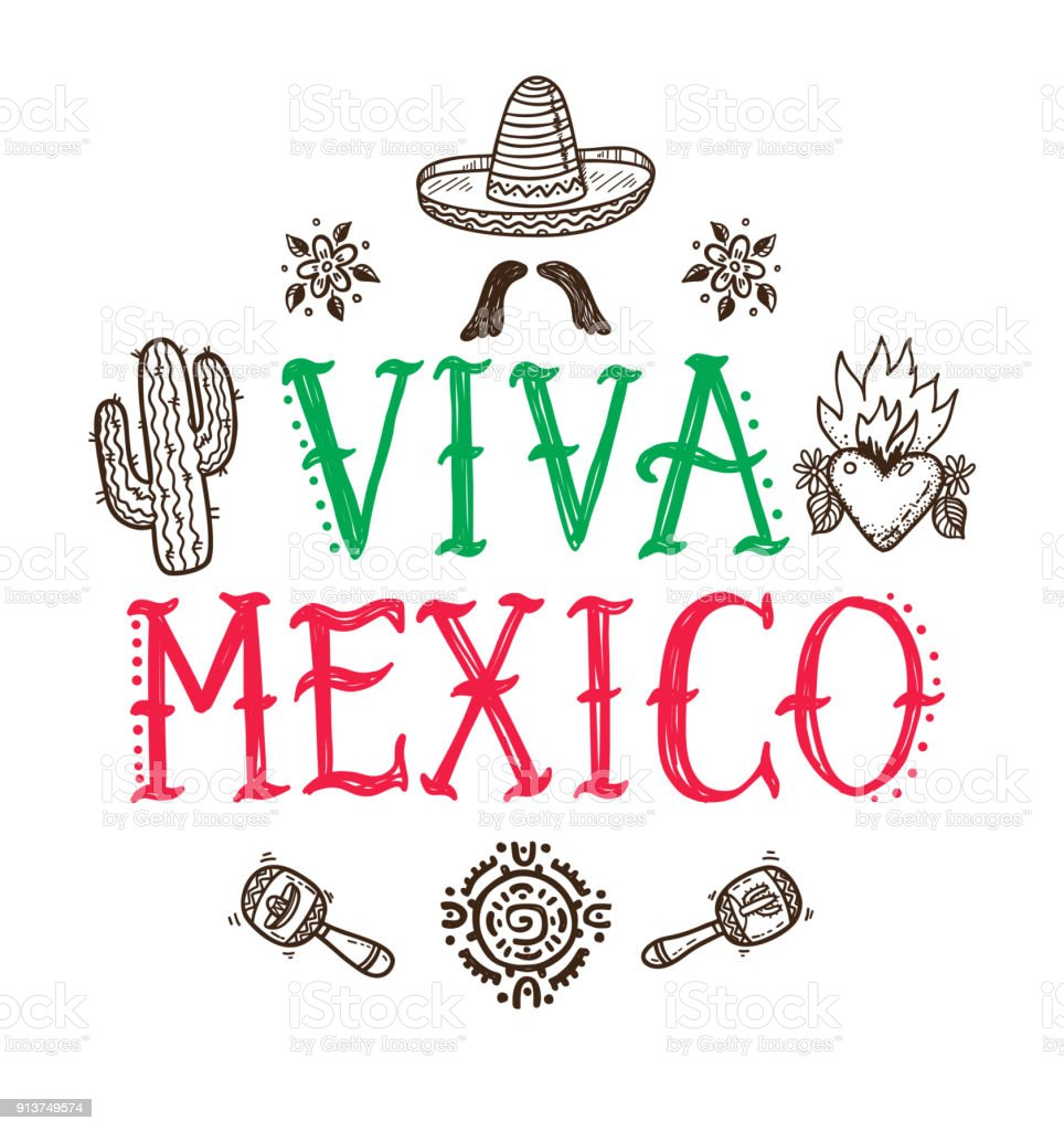 Viva mexico greeting card with hand drawn mexican doodle icons stock viva mexico greeting card with hand drawn mexican doodle icons royalty free viva mexico greeting m4hsunfo