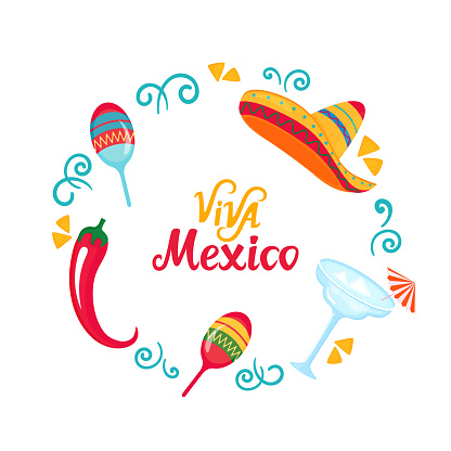 Viva Mexico hand drawn lettering. Poster with sombrero, maracas, margarita and chili pepper. Independence Day